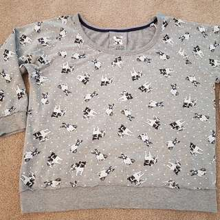 Ladies French Bulldog Print Jumper Sweater Sz 16-18
