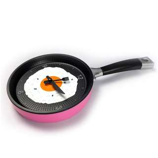 Pink Frying Pan Clock with Fried Egg -Hanging Kitchen Wall Clock Kitchen