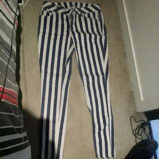 Navy/White Striped Jeans