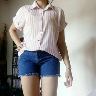 Kemeja Strip Pink Putih