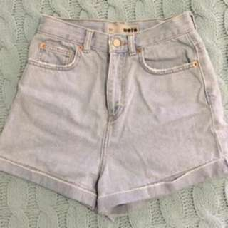 Topshop Moto High Waisted Denim Shorts Size 26