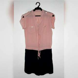 [REPRICED] Casual Pink and Navy Blue Romper