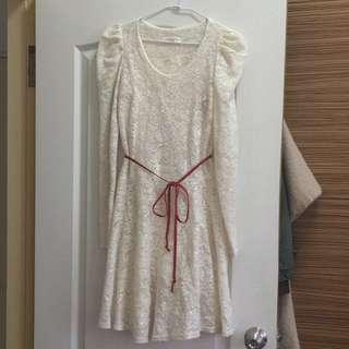 氣質象牙白小亮片長洋裝