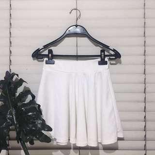 White Textured Skater Skirt
