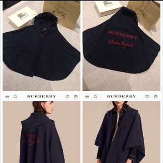 Authentic Burberry Wool Cashmere Blend Hooded Poncho with original wrapping and receipt