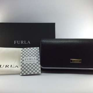 New and authentic Furla Genuine Italian Leather Classic Bifold XL Wallet in Onyx (Black)