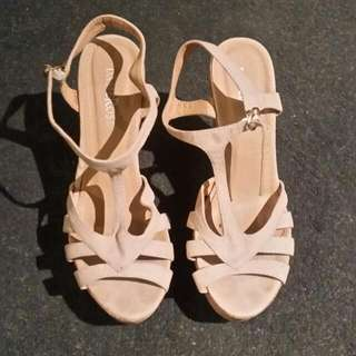 Pink Sandals With Wood Heels Size 9