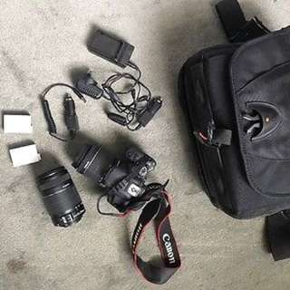 Canon 700d 2 X Lenses 2 X Battery Packs And Bag