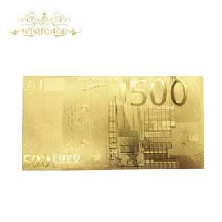 EURO 500 BILL 24k Gold foil Banknote in Gold Plated Paper Money Collectible GOLD NOTE
