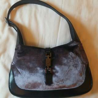 Vintage Gucci Velvet Leather Hobo Jackie O Handbag