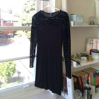 MANGO Black Flocked Bodycon Dress