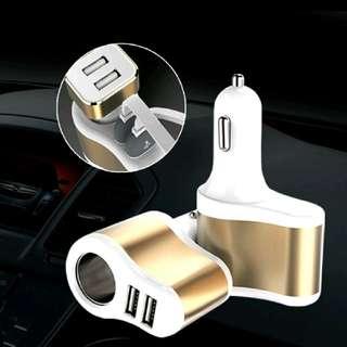 車用充電器 三合一車充 雙USB 快充點煙轉換插頭 多用車充 黑色 金色