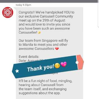 Invited again!😍 Thank You Carousell!