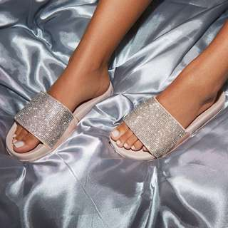 NEW IN BOX - CONTREAS RUBY - EMBELLISHED PEDI SLIP ON SHOES - ALL SIZES - ROSE PETAL GOLD
