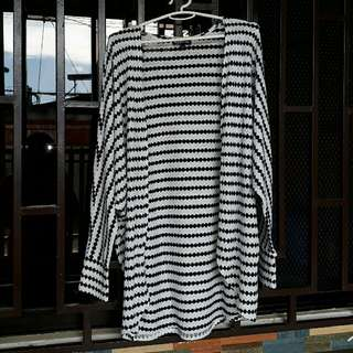 Knit Black and White Open Cardigan