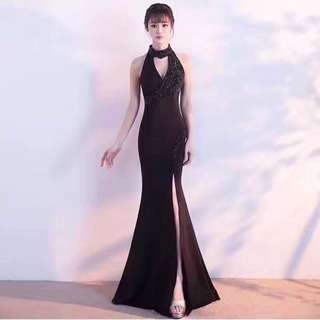 Pearl Slit Long Dress