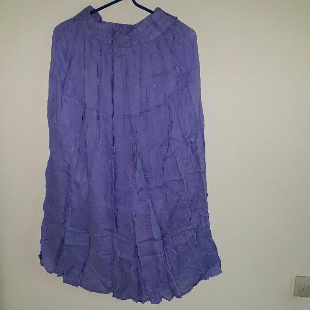 紫色皺摺長裙(F)
