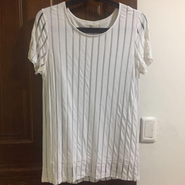 輕熟女上班必備簡約假兩件式白條紋 #50元生活物品