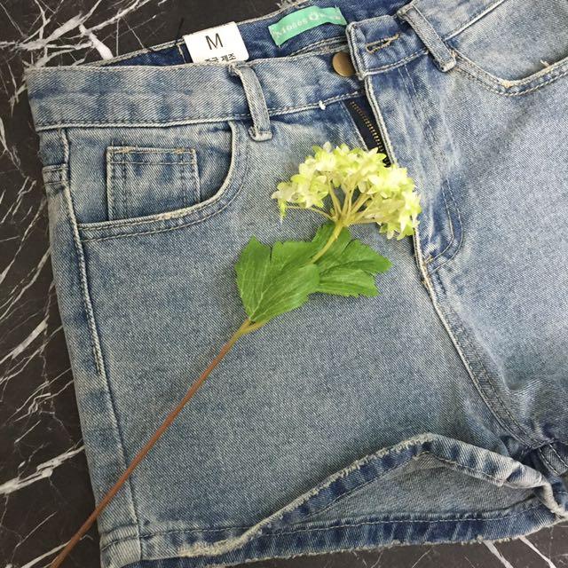 真的好穿👍🏻斜紋布牛仔短褲 口袋破壞休閒短褲