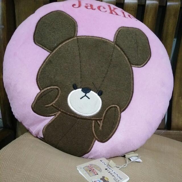 小熊學校圓形抱枕粉色 #禮物