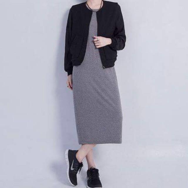 灰黑混織 長洋裝 挺材質 nude 購入