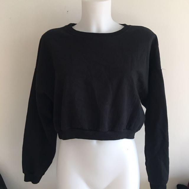 American apparel black California fleece crop top sweater