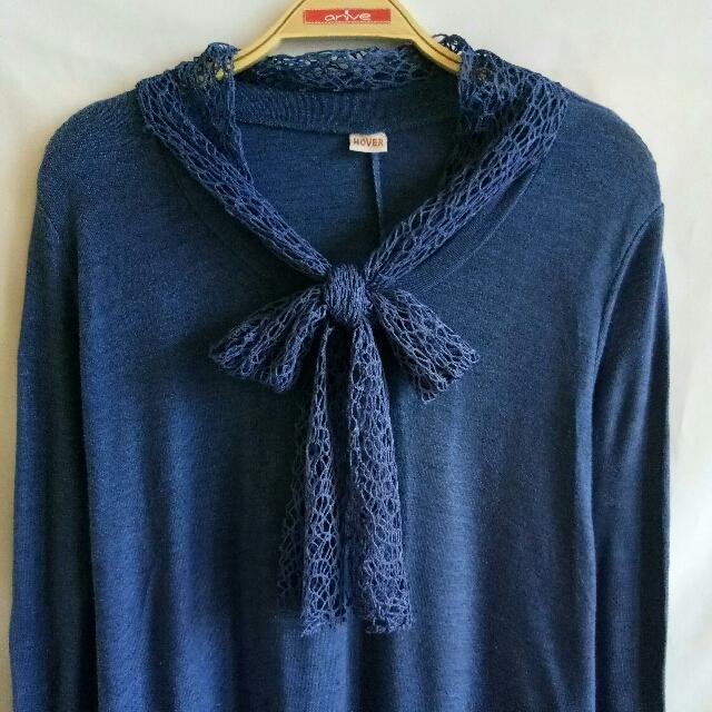 Atasan Panjang Knitted Biru