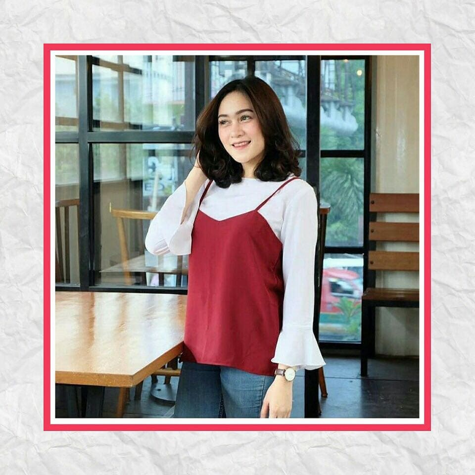 atasan sabrina bells top blouse korea