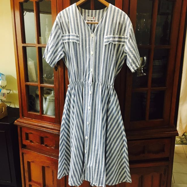 Baby blue Vertical striped A-line Dress