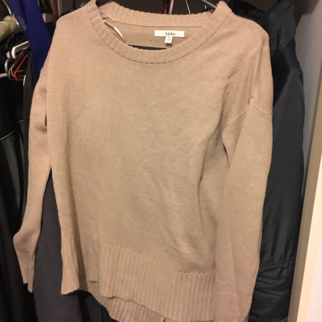 Beige Jumper With Back Detail