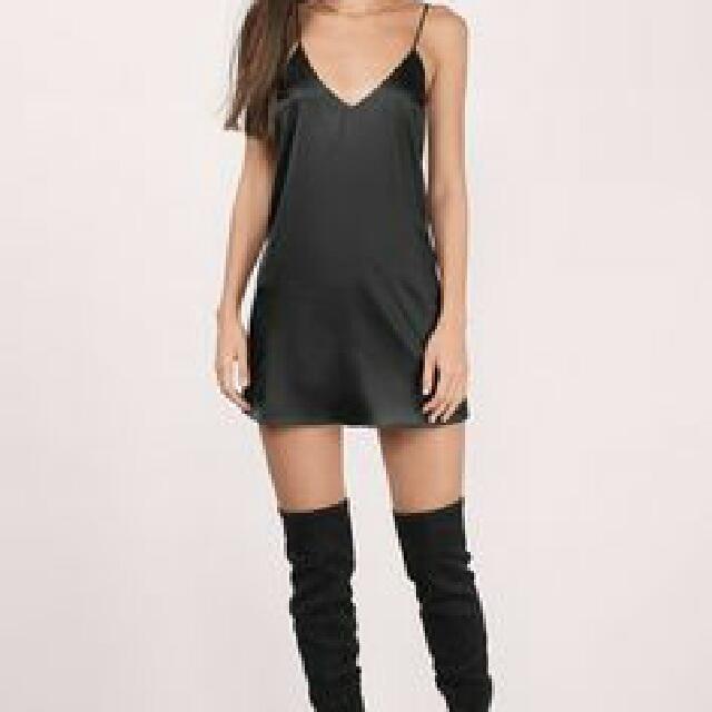 Black Satin Banana Republic Slip Dress