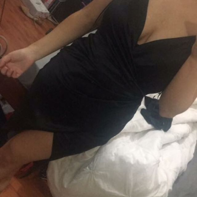 Black Satin Wrap Dress