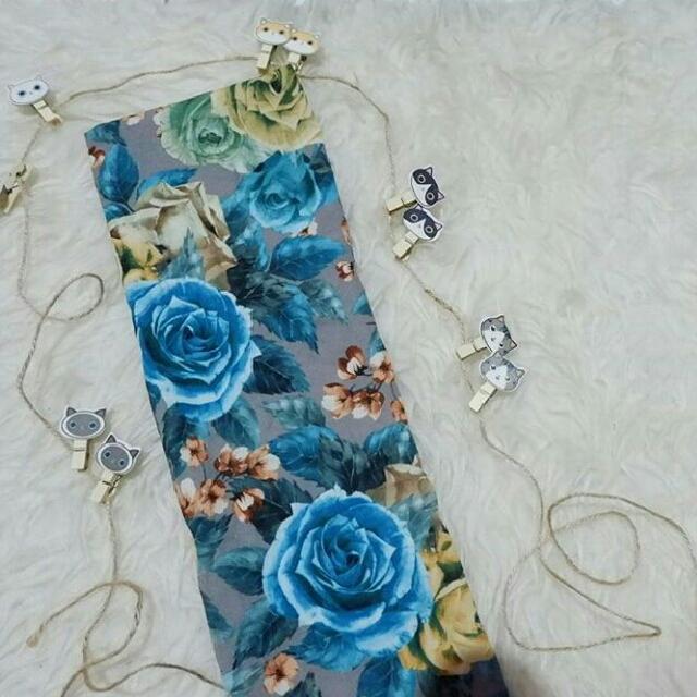 Blue Flowery Scarf