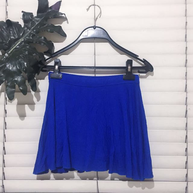 Blue Flowy Skater Skirt