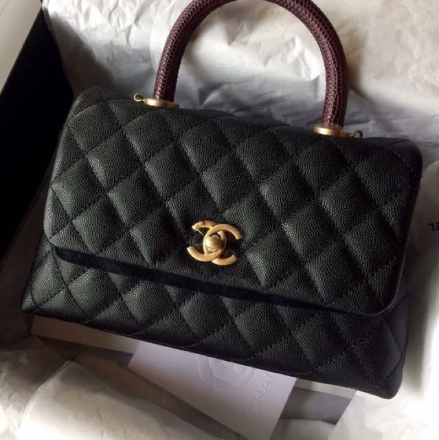 c48d21ff1e5c BN Chanel Coco Handle With Lizard GHW