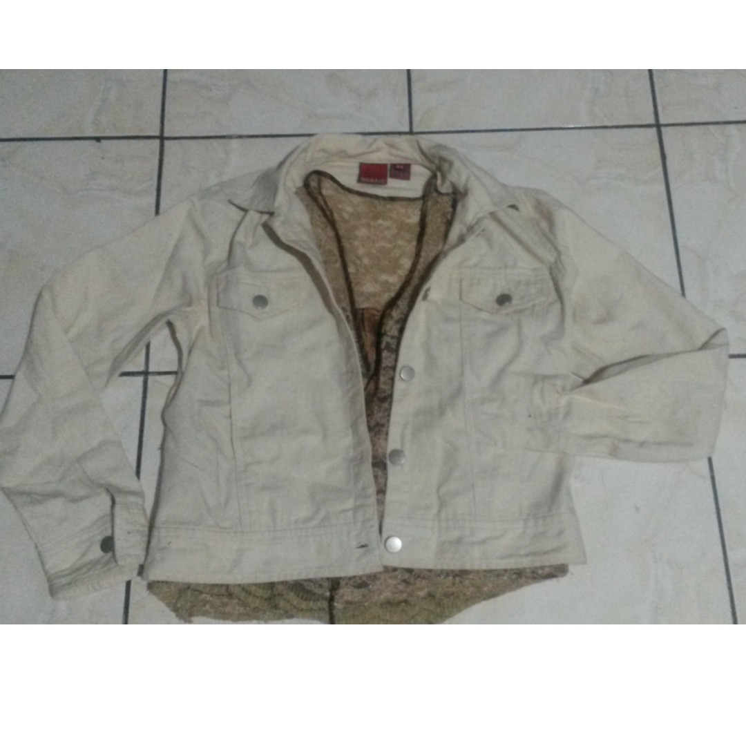 canvass jacket/ lacey blouse