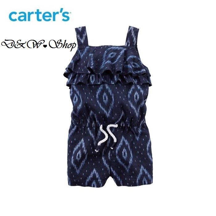 Carter's 幾何複古印花荷葉邊亞麻連身衣連體衣