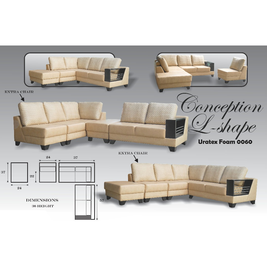 Conception L Shape (0060) Uratex Foam Sofa Set Sala Set, Home U0026 Furniture  On Carousell