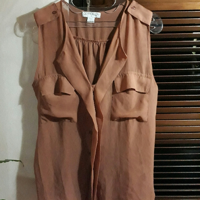 Cotton On Tanpa Lengan Coklat Polos
