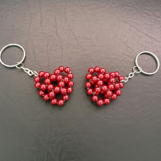Couple Heart Keychain
