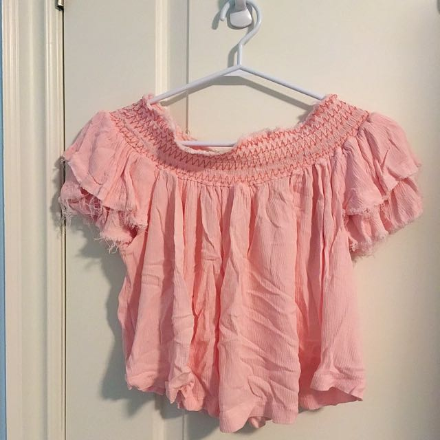 F21 Off Shoulder Frayed Ruffle Top