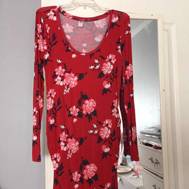 Floral Scoop Neck Maternity Dress