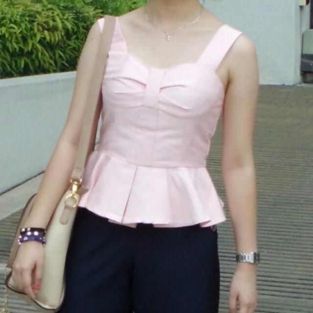 GINZA ribbon pink top