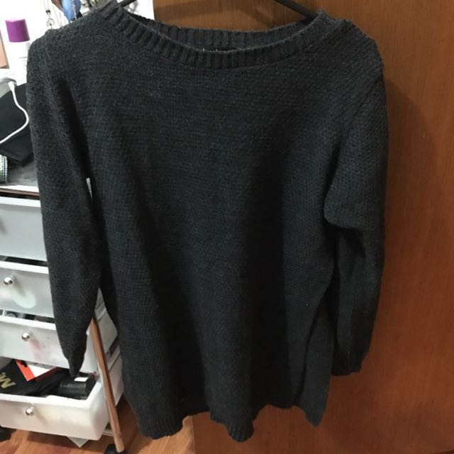 Grey Side Slit Jumper