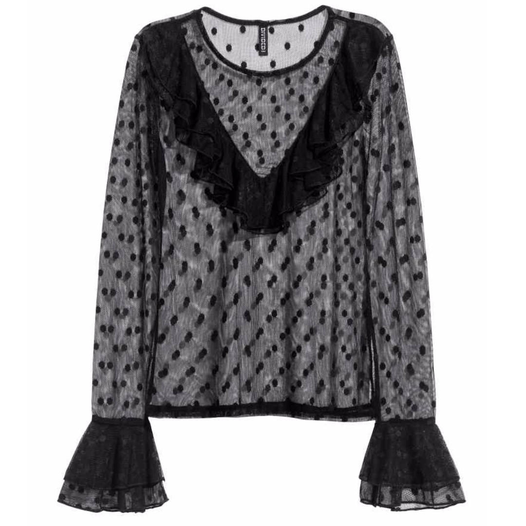 H & M Mesh Frill Top Lace Blouse