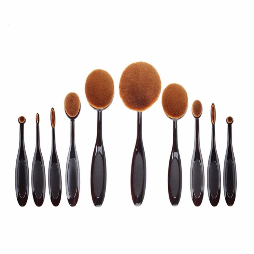 Kuas Kosmetik Make Up Oval Brush Wajah 10 PCS - Black