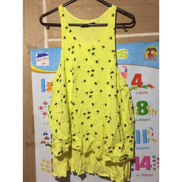 Mango yellow sleeveless floral blouse