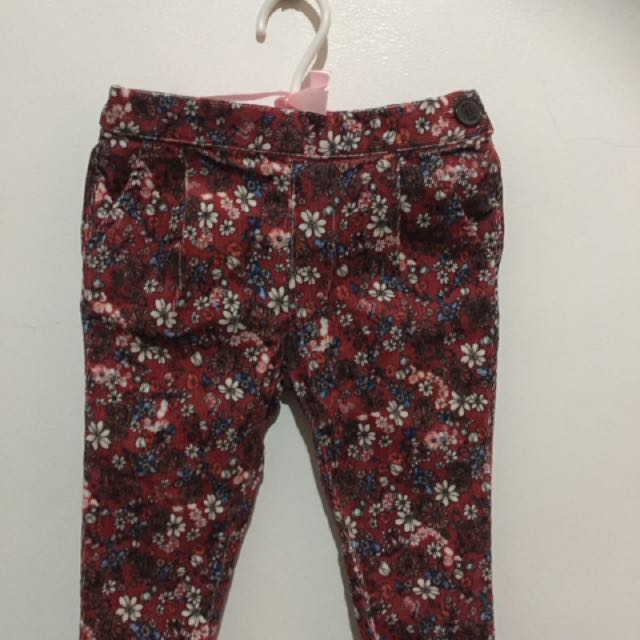 5b78f47dc2 Maroon Zara corduroy floral pants for 6-9 months on Carousell
