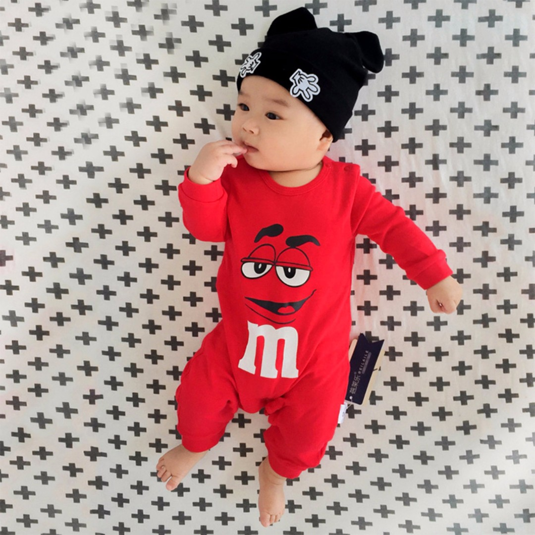 b49fcb686b M M Baby Romper Long Sleeve Jumpsuit (Red)
