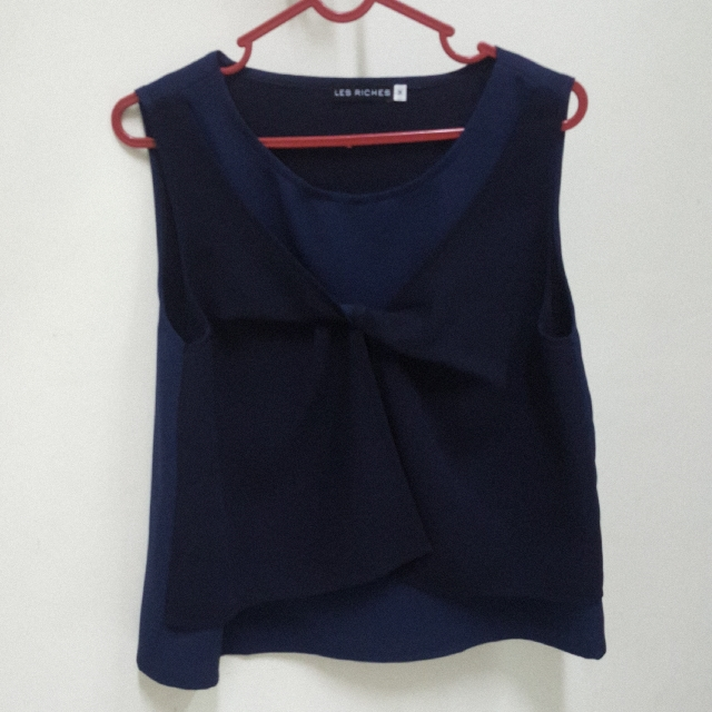 Navy Bow Tank Top